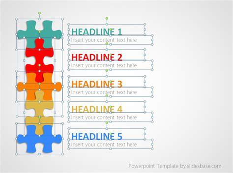 Puzzle List Diagram Powerpoint Template Slidesbase Jigsaw Puzzle Template Powerpoint