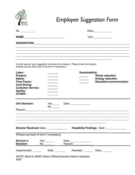 employee suggestion form 14 employee suggestion forms free word excel pdf format