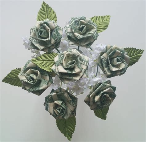 Money Origami Roses - origami money for wedding favors anniversary