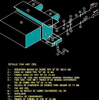 detail installation  fan  coil dwg detail  autocad