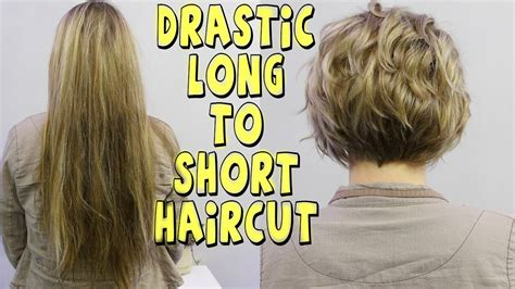 long drastic bob haircuts drastic long to short womens haircut youtube