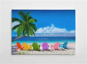 Canvas Butterfly Chair Beach Wall Decor Ocean Canvas Art Large Beach Painting
