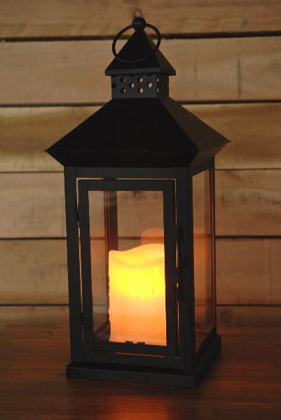 metal lantern with battery operated candle 14in battery