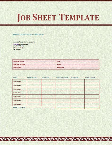 printable job card template job sheet template free word templates