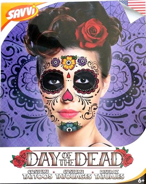sugar skull temporary tattoo black skeleton day of the dead temporary