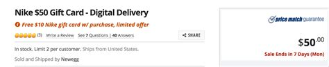 Nike E Gift Card - 60 in nike gift cards for 50 at newegg com doctor of credit