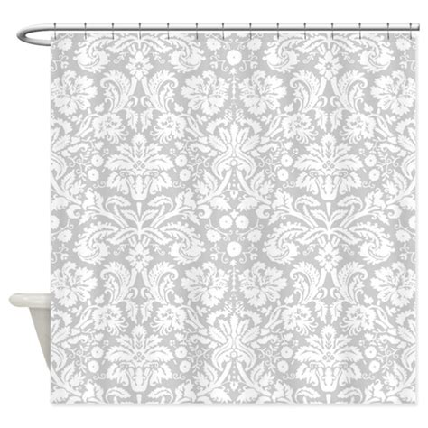 silver damask curtains silver damask shower curtain by inspirationzstore
