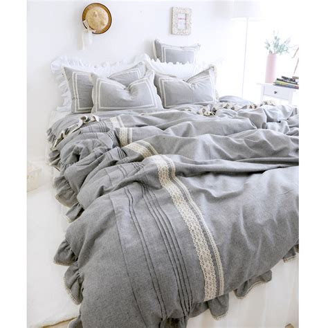 grey linen bedding fashion princess lace pure grey bedding sets girls linen cotton full queen king home