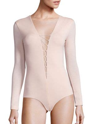 t by alexander wang modal spandex lace up bodysuit in pink