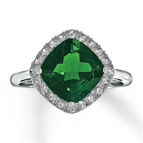 jared lab created emerald ring lab created sapphires 10k