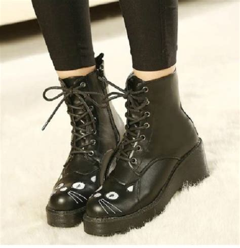 shoes black cat eye boots fashion style