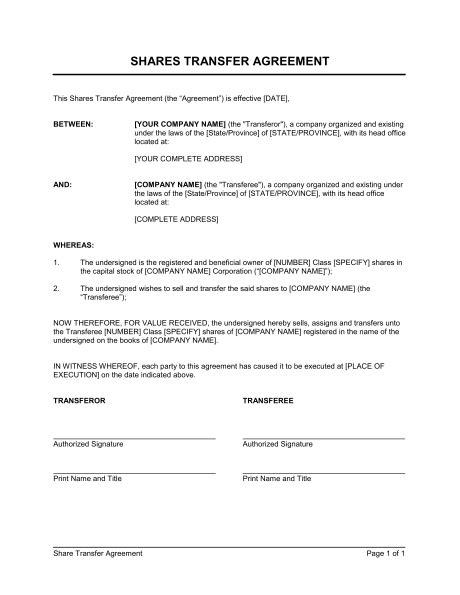 business transfer agreement letter shares transfer agreement template sle form