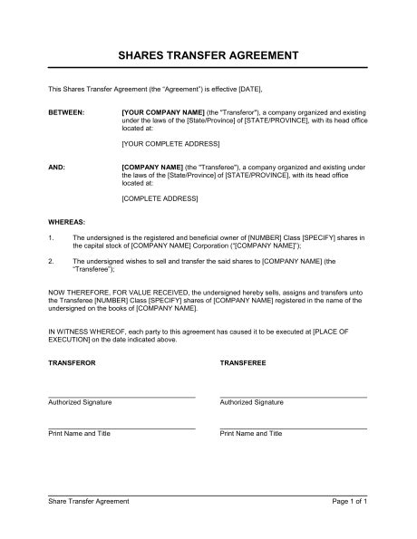 free business transfer agreement template shares transfer agreement template sle form