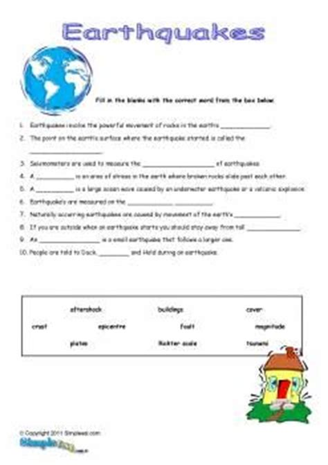 earthquake quiz questions and answers earthquake worksheets lesupercoin printables worksheets