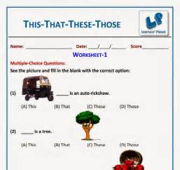 english this that these those worksheet for grade 1 kids