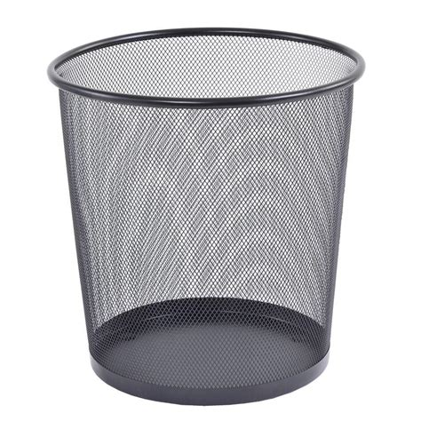 wastepaper basket buddy products 10 5 in round black steel mesh wastepaper basket zd023 4 the home depot
