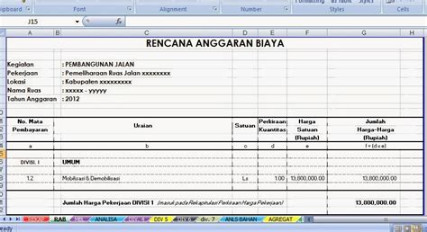 Upah Pembersihan Lahan contoh rencana anggaran biaya pekerjaan jalan kumpulan