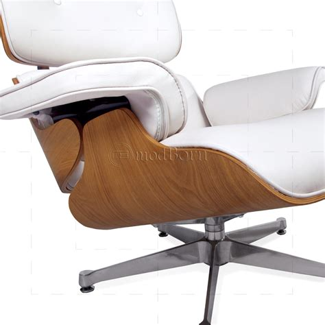 Eames Style Lounge Chair And Ottoman White Leather Ash
