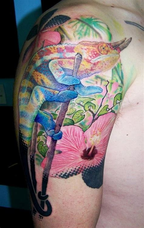 chameleon tattoo jewelry gallery vivid colored horned chameleon tattoo on upper arm