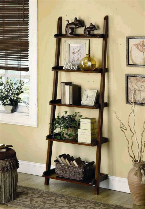 bookshelf decor 5 tier leaning shelf living room pinterest leaning