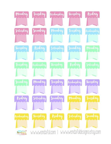 free printable planner supplies free weekday flags stickers for erin condren planners