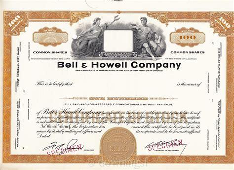 file bell howell stock certificate specimen jpg