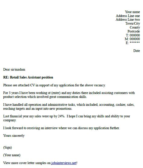 cover letter for a sales assistant retail sales assistant cover letter exle hunt