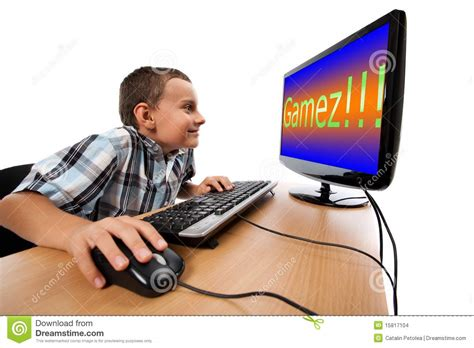 Play On computer addiction concept stock photo image 15817104