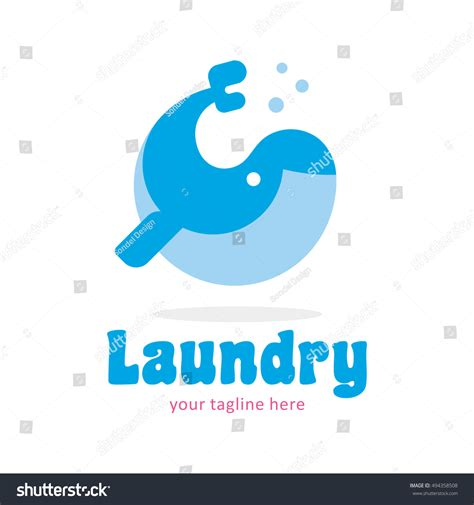 whale laundry whale laundry wash clean logo icon stock vector 494358508
