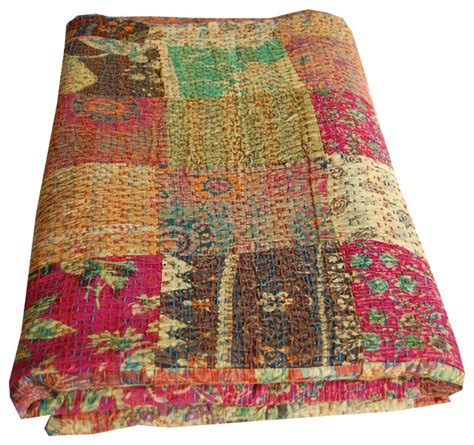 Indian Kantha Quilt Asian Quilts And Quilt Sets london by Majestic India