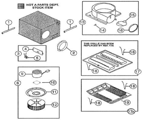 nutone ceiling fan parts nutone qt80 quiettest exhaust fan parts