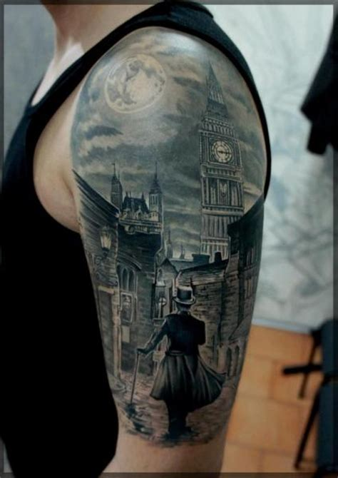 shoulder realistic city tattoo by pavel roch