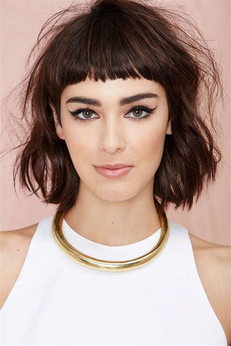 midi length with blunt fringe 30 bangs hairstyles for short hair
