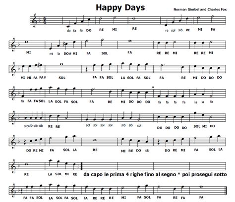 testo di happy musica e spartiti gratis per flauto dolce happy days