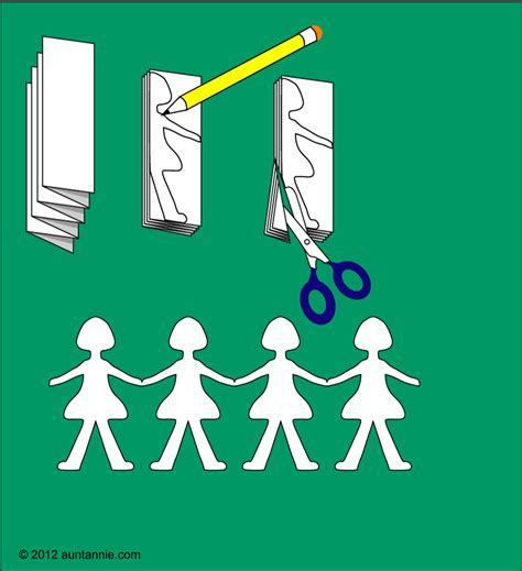 How To Make Paper Cut Outs - paper doll chain on paper doll template