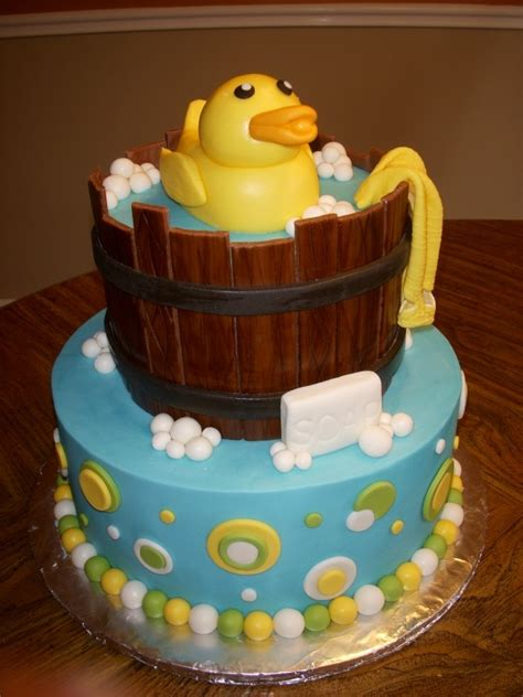 Duck Rubber Ducky Baby Shower Cakes by Katiesheadesign Cakes Rubber Ducky Baby Shower Cake