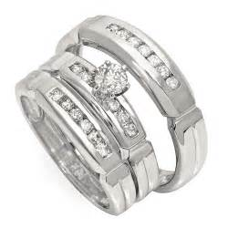 cheap trio wedding ring sets affordable half carat trio wedding ring set for him and