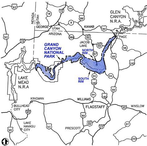 grand map states ribbon falls from phantom ranch hiking arizona