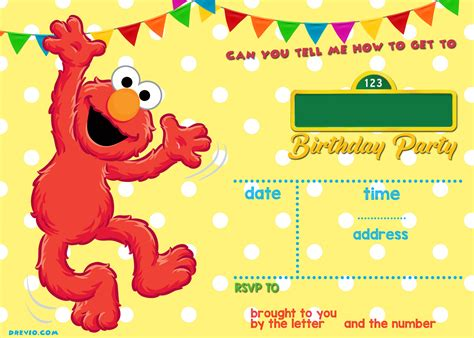 free printable elmo birthday invitations template sesame street birthday invitations online drevio