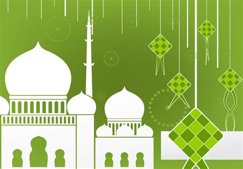 flat design of ketupat and mosque free vector