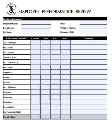 employee review form template 8 sle performance evaluation forms sle templates