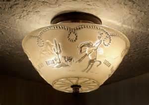 Cowboy Light Fixtures Vintage 30 S Western Cowboy Glass Ceiling Light Fixture Ebay