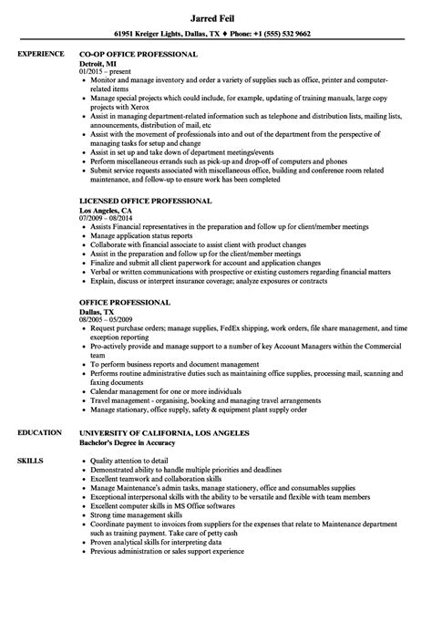 Office Professional Resume by Office Professional Resume Sles Velvet