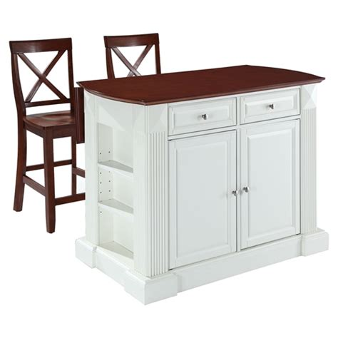 White Kitchen Island With Drop Leaf Drop Leaf Kitchen Island In White With 24 Quot Cherry X Back Stools Dcg Stores