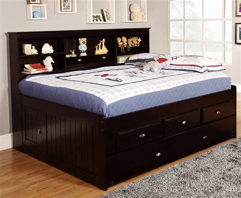 full side bed discovery world furniture espresso full captain day beds