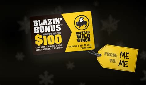 Buffalo Wild Wings Gift Card Deals - buffalo wild wings blazin bonus buy 25 in gift cards get a free gift card valued at