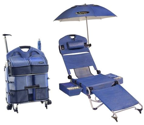 The portable beach chair featuring a fridge umbrella and sound system