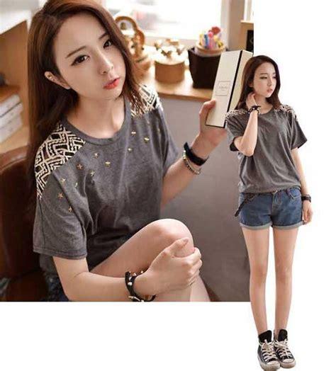 6 Baju Lengan Panjang Katun blus atasan wanita import lengan pendek katun brokat b2811