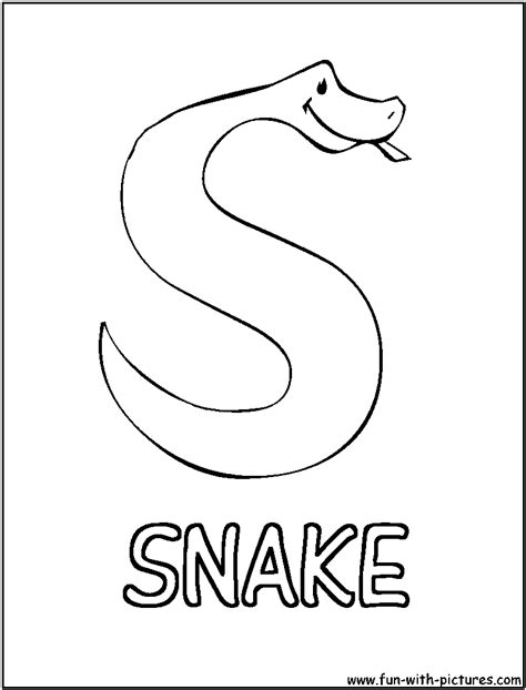 S Snake Coloring Page by S For Snake Free Colouring Pages