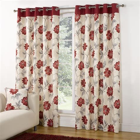 red and black floral curtains modern casa floral trail print lined eyelet curtains red
